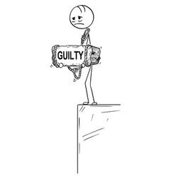 Cartoon depressed man standing on edge holding vector