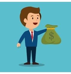 Cartoon man money earnings design isolated vector