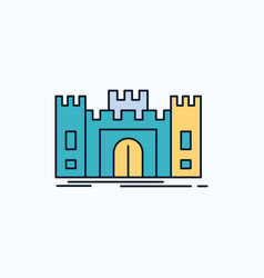 castle defense fort fortress landmark flat icon vector image