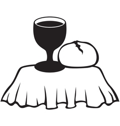 Chalice and bread vector