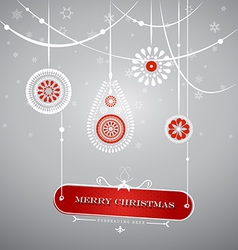 Christmas decoration with hanging plate with vector image