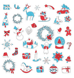 christmas set icon stickers can be used for advent vector image