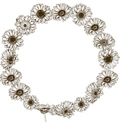 Circle floral frame of detailed hand drawn vector