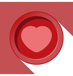 Circle with heart and stylized shadow vector