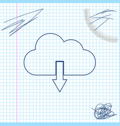 cloud download line sketch icon isolated on white vector image
