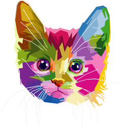 Colorful cat head vector