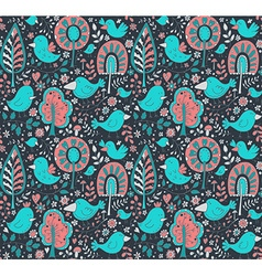 colorful floral seamless pattern with trees vector image