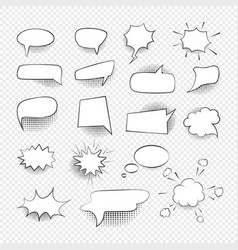 comic speech bubbles signs black thin line icon vector image