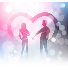 Couple hold hands over bokeh background and heart vector
