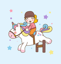 Cute girl ride unicorn jump obstacles vector