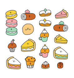 cute pastry characters collection vector image