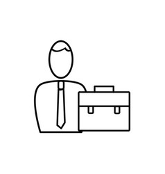 employee with briefcase icon vector image