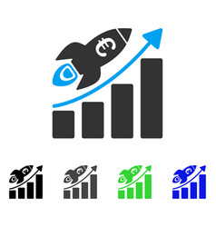 Euro success business start flat icon vector
