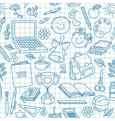 Exercise book drawings seamless pattern vector image