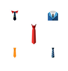 flat icon tie set of clothing cravat tailoring vector image