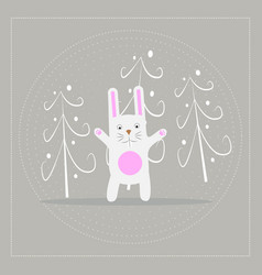 Funny cartoon white rabbit in the forest vector