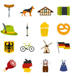 germany set flat icons vector image