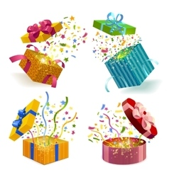 Gift Boxes And Confetti Set vector image