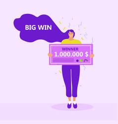 Girl with a million dollar check raffle winner vector