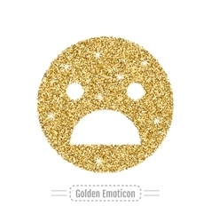 Golden glitter emoticon isolated on white vector image
