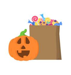 Halloween pumpkin around paper package with candie vector