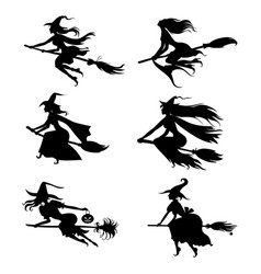 Halloween witches silhouettes on broom set vector