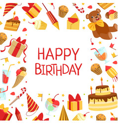 happy birthday banner template with symbols of vector image