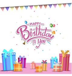 Happy birthday design with gift box and ribbon vector