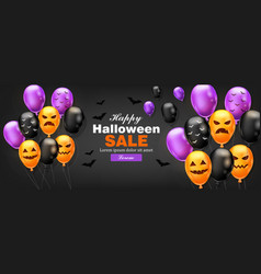 happy halloween card with colorful balloons vector image