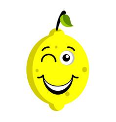 happy lemon emoticon vector image