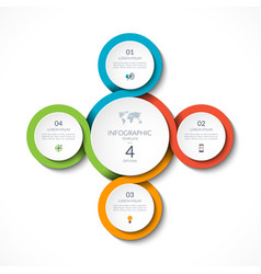 Infographic circular template with 4 options vector