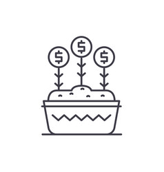 investment growth line icon concept investment vector image