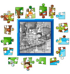 jigsaw puzzle game template with kids in park vector image