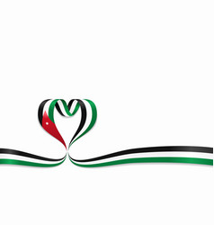 jordanian flag heart-shaped ribbon vector image