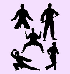 karate martial art gesture silhouette 04 vector image