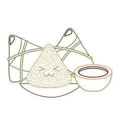 Kawaii happy rice dumpling and sauce cartoon vector