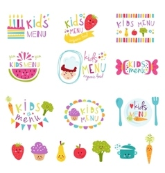Kids menu stickers set vector