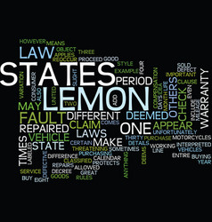 Lemon law details text background word cloud vector