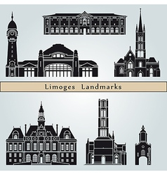 Limoges landmarks and monuments vector image