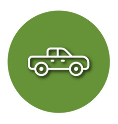 Line icon of pickup truck with shadow eps 10 vector