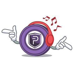 listening music pivx coin mascot cartoon vector image