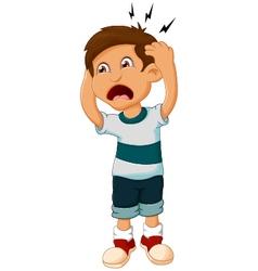 little boy cartoon headache vector image