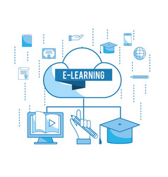 Load cloud with elearning education technology vector