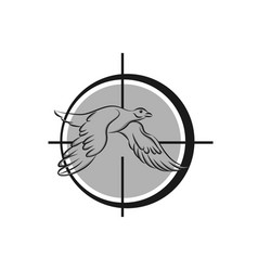 logo for duck hunting decorative rhomb tag vector image