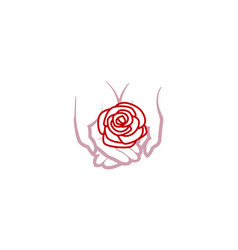 lotus care hands holding rose logo vector image