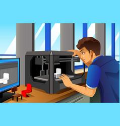 Man using a 3d printer vector