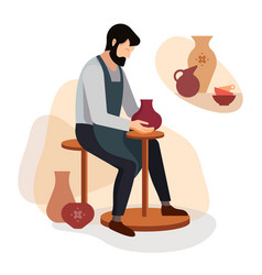 master potter makes a clay vase vector image