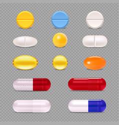 Medicine pills transparent set vector