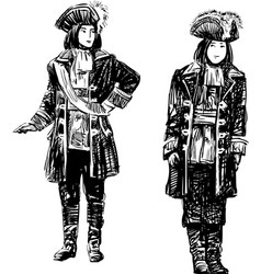 Men in the theatrical costumes vector