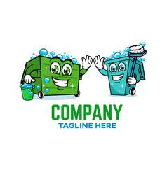 Modern trash can logo vector